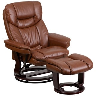 Boronia Anitque Brown Leather Mahogany Wood Swivel Recliner and Ottoman Set