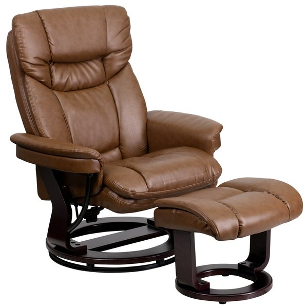 Boronia Palomino Brown Leather and Mahogany Wood Swivel Recliner and Ottoman Set. Opens flyout.
