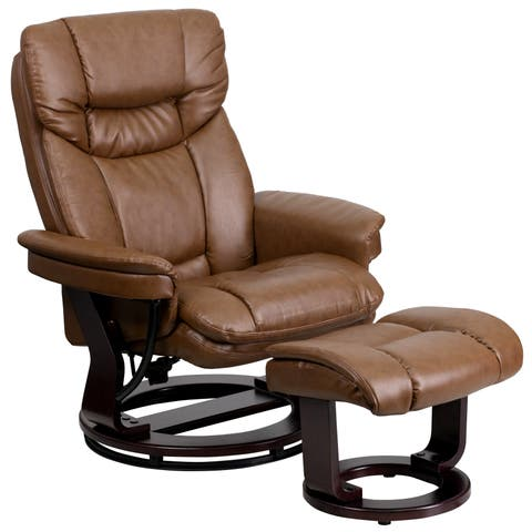Boronia Palomino Brown Leather and Mahogany Wood Swivel Recliner and Ottoman Set