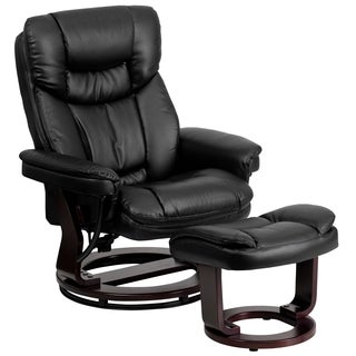 Boronia Black Leather Mahogany Wood Swivel Recliner and Ottoman Set