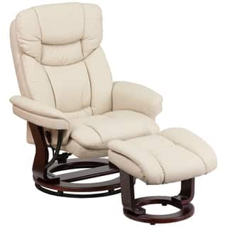 Boronia Beige Leather and Mahogany Wood Swivel Recliner and Ottoman Set|https://ak1.ostkcdn.com/images/products/16373276/P22730001.jpg?impolicy=medium