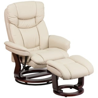 Boronia Beige Leather and Mahogany Wood Swivel Recliner and Ottoman Set