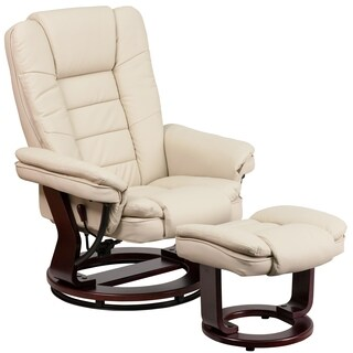 Etin Beige Leather Mahogany Wood Swivel Recliner and Ottoman Set