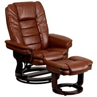 Etin Antique Brown Leather and Mahogany Wood Swivel Recliner and Ottoman Set