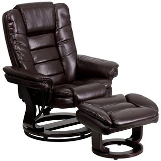 Etin Brown Leather and Wood Swivel Recliner and Ottoman Set