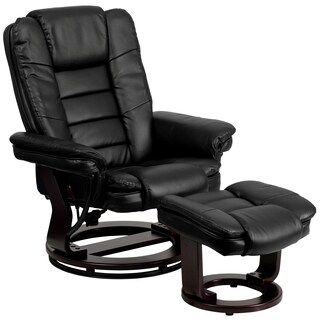 Etin Black Leather and Wood Swivel Recliner and Ottoman Set