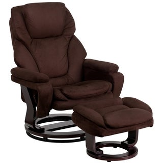 Thyme Brown Microfiber Mahogany Wood Swivel Recliner and Ottoman Set