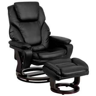 Thyme Black Leather/Mahogany Swivel Recliner and Ottoman Set