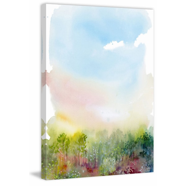 'Spring Meadow' Painting Print on Wrapped Canvas - Green