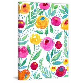 'Watercolor Flowers' Painting Print on Wrapped Canvas