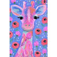 'Lily the Giraffe' Painting Print on Wrapped Canvas - Pink