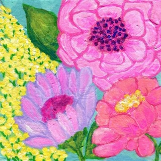 'Four Spring Flowers' Painting Print on Wrapped Canvas