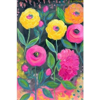 'Flowers at Midnight' Painting Print on Wrapped Canvas