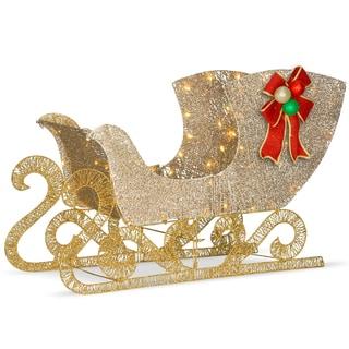 "National Tree Company 38"" Christmas Decorative Crystal Splendor Santa's Sleigh with White LED Lights"