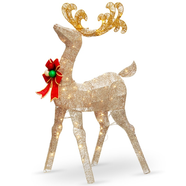 """Shop National Tree Company 48"""" Holiday Christmas Crystal Splendor Reindeer Decoration with White LED Lights - Free Shipping Today - Overstock - 16373463"""