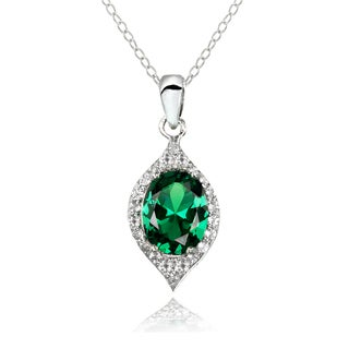 Glitzy Rocks Sterling Silver Simulated Emerald And White Topaz Oval Shaped Fashion Necklace
