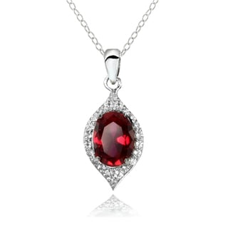Glitzy Rocks Sterling Silver Created Ruby and White Topaz Oval-shaped Fashion Necklace