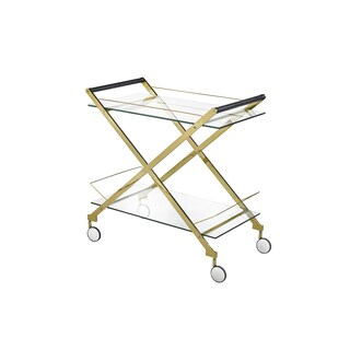 Oliver & James Itten Metal and Glass Rolling Bar Cart
