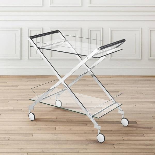 Strick & Bolton Itten Metal and Glass Rolling Bar Cart