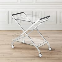 Contemporary Metal and Glass Rolling Bar Cart