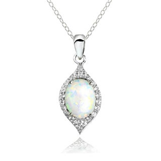 Glitzy Rocks Sterling Silver Simulated Opal and White Topaz Oval-shaped Fashion Necklace