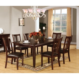 Furniture of America Corithea Contemporary 7-piece Espresso Dining Set with 18-inch Leaf