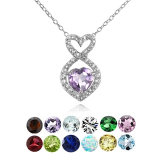 Link to Glitzy Rocks Sterling Silver Garnet and White Topaz Infinity Heart Necklace Similar Items in Birthstone Jewelry