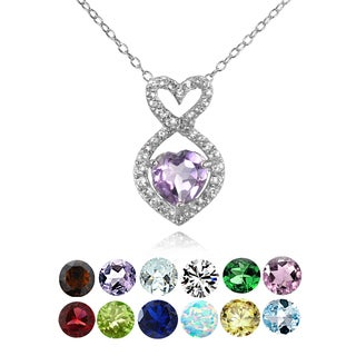 Glitzy Rocks Sterling Silver Garnet and White Topaz Infinity Heart Necklace