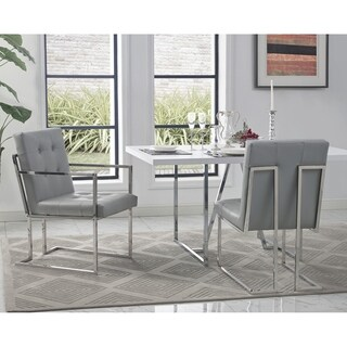 Inspired Home Astor PU Leather Button Tufted Square Arm Chrome Frame Dining Chair (Set of 2)