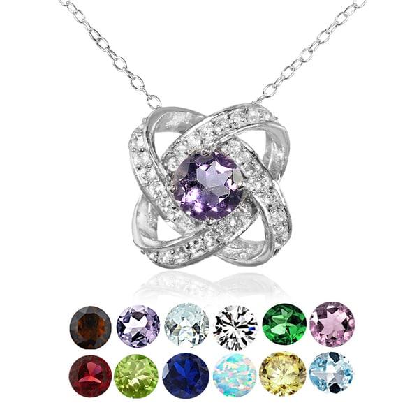 Glitzy Rocks Sterling Silver Birthstone Gemstone Love Knot Necklace