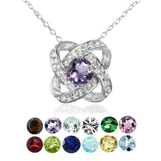 Glitzy Rocks Sterling Silver Birthstone Gemstone Love Knot Necklace