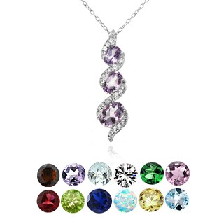Sterling Silver Birthstone Gemstone Three-stone Twist Drop Necklace