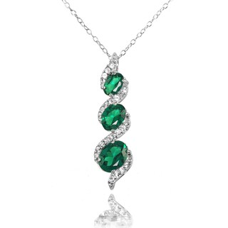 Sterling Silver Birthstone Gemstone Three-stone Twist Drop Necklace (More options available)