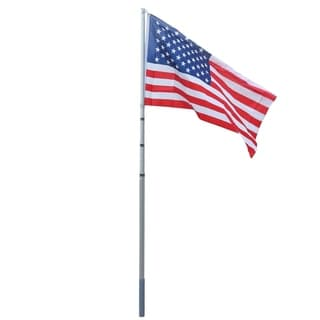16-feet Aluminum Retractable Flagpole (Silver)
