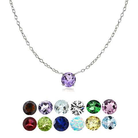Glitzy Rocks Sterling Silver Small Dainty Round-cut Birthstone Choker Collar Necklace