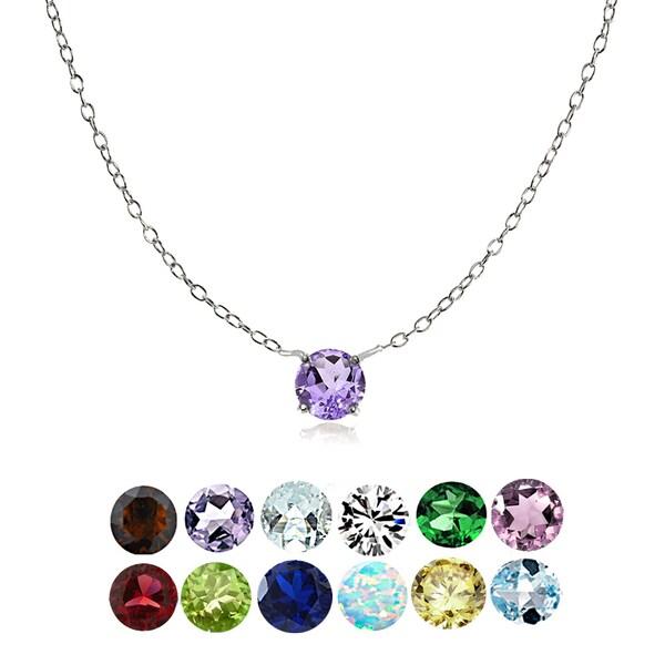 Glitzy Rocks Sterling Silver Small Dainty Round-cut Birthstone Choker Collar Necklace