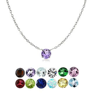 Glitzy Rocks Sterling Silver Small Dainty Round-cut Birthstone Choker Collar Necklace|https://ak1.ostkcdn.com/images/products/16373568/P22730347.jpg?impolicy=medium
