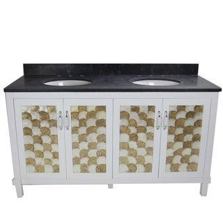 Infurniture Black/White/Gold-tone Limestone/Ceramic/Wood 60-inch Oval Sink Bathroom Vanity