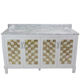 Infurniture White/Grey/Gold-tone Carrara Marble/Ceramic/Wood Single Square Sink Bathroom Vanity