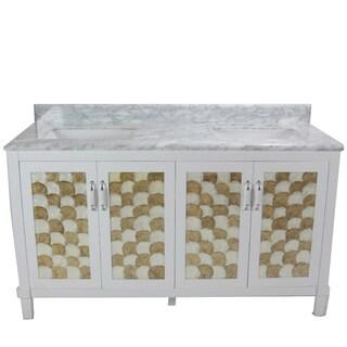 Infurniture White/Grey/Gold-tone Carrara Marble/Ceramic/Wood Single Square Sink Bathroom Vanity