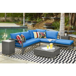 Handy Living Aldrich Indoor/Outdoor Grey Woven Resin Rattan Sectional Sofa  With Pacific Blue Sunbrella