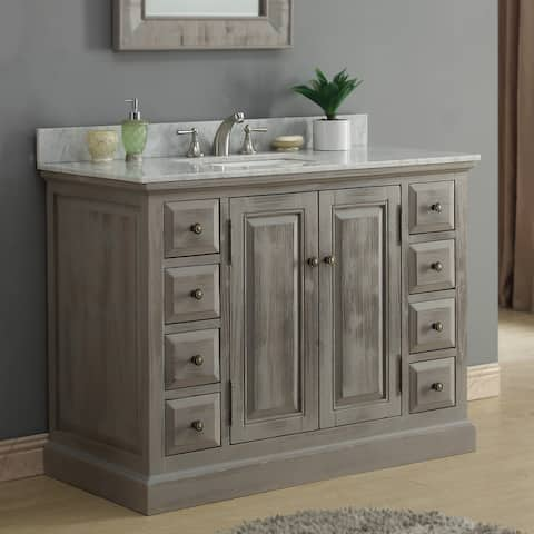 Infurniture Rustic-style 48-inch Single Sink Bathroom Vanity with Carrera White Marble Top