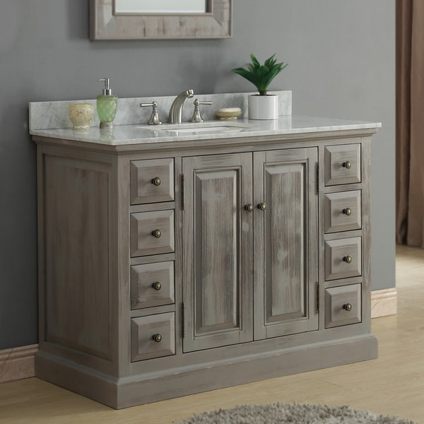 Shop infurniture rustic style 48 inch single sink bathroom - 48 inch white bathroom vanity with top ...