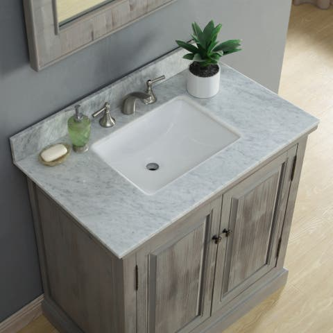 Infurniture Rustic-style 36-inch Single Sink Bathroom Vanity with Carrera White Marble Top