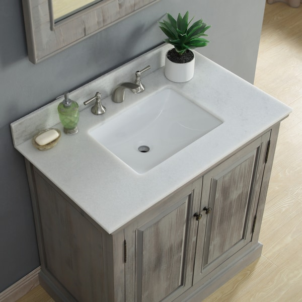 Astonishing Infurniture Rustic Style 36 Inch Single Sink Bathroom Vanity With Carrera White Marble Top Download Free Architecture Designs Pushbritishbridgeorg