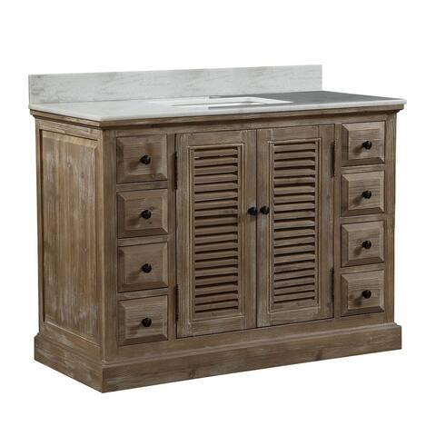 White Quartz Marble-top 48-inch Rustic-style Single-sink Bathroom Vanity