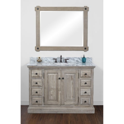 Infurniture Rustic-style Driftwood 48-inch Single Sink Bathroom Vanity with Carrera White Top