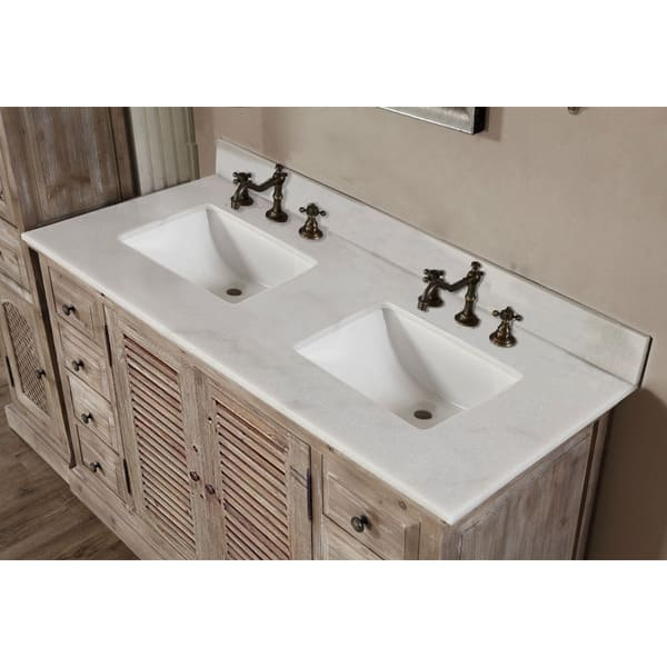 Infurniture 60 Inch 2 Sink Bathroom Vanity With White Quartz Top