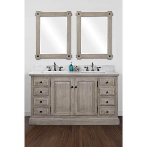 Infurniture 60-inch 2-sink Bathroom Vanity with White Quartz Top