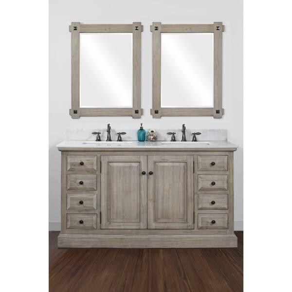 Infurniture 60 Inch 2 Sink Bathroom Vanity With White Quartz